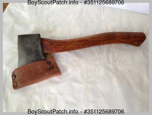 Vintage Bsa Official Scout Plumb Axe Hatchet Tool Leather Sheath